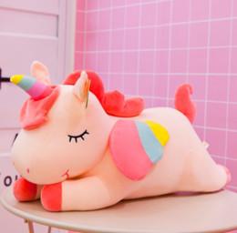 Ingrosso Nuovo colore rosa della corda del cotone Unicorno peluche 40 centimetri peluche peluche peluche cuscino Baby Doll graziosi bambini oversize regali giocattolo per i bambini