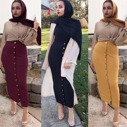 $enCountryForm.capitalKeyWord Australia - Size Plus 2019 Summer Abaya Musulmane Women High Waist Button Bodycon Maxi Skirt Long Turkish Islamic Skirts Clothing Jupe Femme