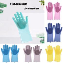 Pair Bedding Australia - Silicone Glove Resuable Household Scrubber Dishwashing Gloves 2pcs pair Magic Washing Brush Kitchen Bed Bathroom Cleaning Tools 50set