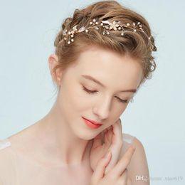 Wholesaler Boho Jewelry Australia - Boho Gold Floral Headpiece Pearls Hair Jewelry for Bride Wedding Headband Bridal Hair Accessories Handmade Bridesmaid Hairband