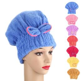 $enCountryForm.capitalKeyWord NZ - Microfibre Quick Hair Drying Bath Spa Bowknot Wrap Towel Hat Cap For Bath Bathroom Accessories
