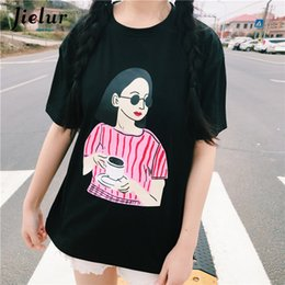 415810c563d Jielur Womans Tshirt 2019 Fashion Street Cartoon Girl Printed Short Sleeve T  Shirt Female Cute Loose Harajuku Tee Shirts Korean T3190603