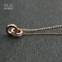 14k Twisted Chains Australia - New Korean Version of Simple Necklace Women's Clavicle Chain Double Ring Square Drill Necklace Pendant Women's Fashion Necklace Wholesale