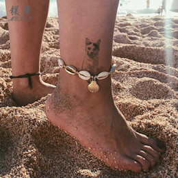 $enCountryForm.capitalKeyWord Canada - Bohemian Woven Shell Wax Rope Conch Ocean Shell Ankle Bracelets for Women Fashion Handmade Braid Wooden Beads Anklets Beach Foot Jewelry