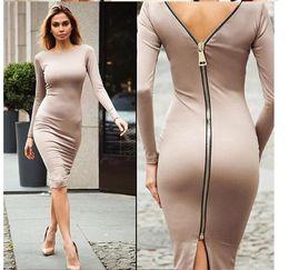 Back Zipper Tights Australia - Gamiss Bodycon Sheath Dress Long Sleeve Party Sexy Dresses Women Clothing Back Full Zipper Robe Sexy Pencil Tight Dress Vestidos