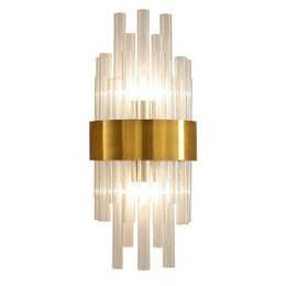 $enCountryForm.capitalKeyWord UK - Nordic wall lamp crystal K9 Wall Light Sconce Gold color Foyer Living Bedroom Bedside Wall Lamp Light Sconce luxury 2 x E14 lamp