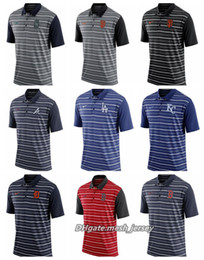 Red Stripe Polo Shirt Australia - Men Tigers Red Sox Orioles Braves Giants Brewers Giants Dodgers Royals Mariners Stripe Polo Shirts