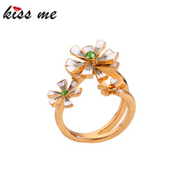 Discount unique finger rings for women - kissme Unique Enamel Green Shiny Crystal Flowers Cocktail Finger Ring For Women Gifts Gold Color Special Design Fashion