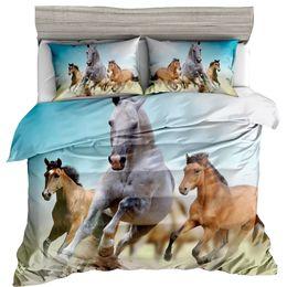 Horse Bedding Sets Queen NZ - Reactive Printed Bedding Set Animal Leopard Tiger Horse Lion 3D Designs Print Twin Full Queen Size Pillowcase Duvet Cover Sets