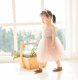 $enCountryForm.capitalKeyWord Australia - Baby girls Lace Tulle Sling dress Children suspender Mesh Tutu princess dresses 2019 summer Boutique Kids Clothing 4 colors C6257