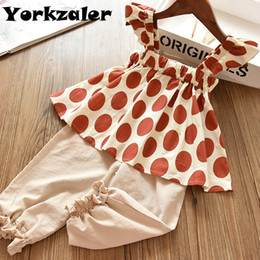 Discount long collar shirts for girl - Baby Girls Clothes Set Dot Printed Blouse Shirt and Long Pants for Summer Outfit Baby Kids Clothing Suit Drop Shipping