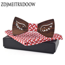Wholesale Special design bow tie Angel s wings solid Pocket Square wood bow tie There are angels wing Wooden Ties For
