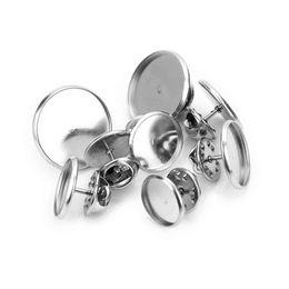 $enCountryForm.capitalKeyWord UK - Sauvoo 20 Set lot Stainless Steel Brooch Base 12mm 14mm 16mm 18mm 20mm Butterfly Tie Tack Blank Brooch Pin Tray DIY Jewelry