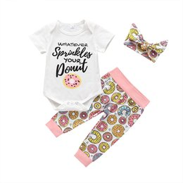 $enCountryForm.capitalKeyWord Australia - Ins new doughnut Girls Outfits Summer Girl Suit kids designer clothes girls clothes baby romper+pants+bows headband Kids Sets A5226