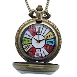 China Creative Colorful Dial Roman Number Exquisite Design Quartz Pocket Watch Bronze Necklace Female Pendant Valentine's Day Gift suppliers