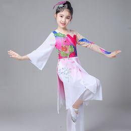 2ea036a64 Children's Classical Dance Performance Dress Girl Elegant Umbrella Yangko Dance  Costumes Chinese Folk Dancing Costume for Stage