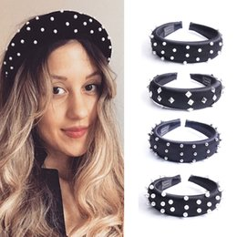 pearl hair accessory wholesale Australia - Women Thick Sponge Headband Rivet Pearl Beads Hairband Hair Hoop Padded Hearband Festival Party Hair Accessories