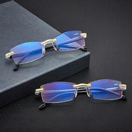 Light Blue bloqueio Óculos de alta qualidade Reading Óculos presbiopia Espetáculos Clear Glass Lens Unisex aro Quadro Força +1.0 +4.0 em Promoção