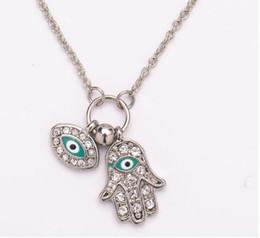 Eye Shaped Pendants Australia - Fashion The Hand of Fatima Pendant Gold Silver Turkish Jewelry Hand Shape Turkey's Blue Eyes Necklace K3611