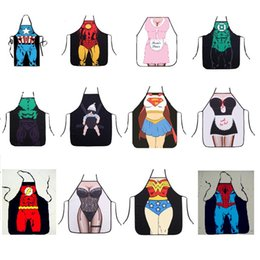 Wholesale newFunny Cooking Kitchen Apron D Digital Printed Sexy Dinner Party Baking Apron BBQ Party Cartoon Hero Pattern Aprons coveall apron T2I5331