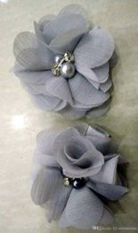 Chiffon Flower Hair Clips Wholesale Australia - SILVER GRAY Chiffon Flowers With Pearl Rhinestone Center Artificial Flower Fabric Flowers Children Hair Accessories Baby clips Flower