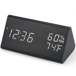f8de748a61cf Reloj despertador digital de madera Reloj despertador LED USB   con batería  Atenuador Higrómetro interior Termómetro Reloj con control de sonido