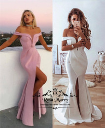 sexy celebrities dress girls Australia - Sexy Plus Size Mermaid Celebrity Evening Dresses 2019 Off Shoulder High Split Long Satin Cheap Simple Arabic Girls Engagement Prom Gowns