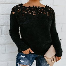 knitted wear jumpers UK - Brand New Women Ladies Sexy Lace Long Sleeve Knitted Sweater Jumper Pullover Autumn Winter Tees Casual Tops Office Wear