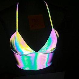 Tiefer V Sport-BH Laser Reflective Leibchen Helle Sport-BHs Frauen Fitness Top Sexy Gym Yoga Vest Wear Unterwäsche Tanks GGA3502 im Angebot
