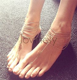 Anklets Rings Australia - Anklets 2016 Gold Indian Anklets New Beach Wedding Barefoot Sandals Multi Tassel Toe Ring Chain Link Foot Jewelry Anklet Chain Women Gift