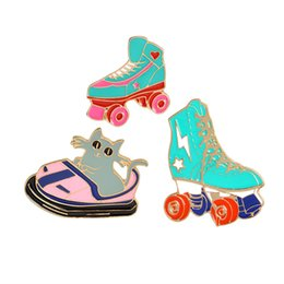 Kitten Shirts Australia - Cartoon Roller skates Cat brooch Kitten Bumper car Brooches Metal Green Enamel Pin Buckle Jacket Bag Shirt Pin Badge Jewelry drop ship