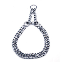 dog collar and tag 2020 - Double row chain pet iron collar dog collar large and medium-sized dog products new popular pet products tag cheap dog c
