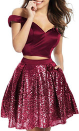 Club gowns online shopping - Sexy Two Pieces Homecoming Dresses Off Shoulder Sequin Plus Size Party Ball Gowns Prom Short Juniors Graduation A Line Knee Length Club Wear