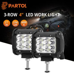 Discount fork lifts - wholesale 4inch 27W Tri-Row Car LED Work Lights Spot Flood Beam 2700LM 6000K 12V 24V For Auto Offroad ATVs,SUV,truck,For