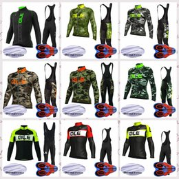 mens long sleeve winter cycling jerseys NZ - ALE team Outdoor Cycling long Sleeves jersey Polyester Clothes Mens Winter Thermal Fleece riding bib pants sets Q82117