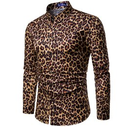 $enCountryForm.capitalKeyWord Canada - Mens Trend Nightclub Leopard Print Shirt High Quality Long Sleeve Shirt Male Social Casual Party Shirt Chemise Homme Dress