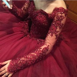 wedding gown appliques Canada - 2020 Amazing Burgundy Ball Gown Wedding Dresses Off Shoulder Long Sleeves Lace Appliques Crystal Beaded Puffy Tulle Plus Size Bridal Gown