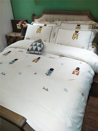Sheet california king Size online shopping - Luxury White Embroidery Comforter Bedding Sets Cotton For King Queen Size Bed Sheets Pillowcases Bed Cover Set Bed Linen