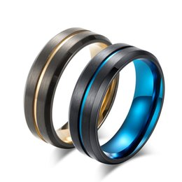 Blue Titanium Jewelry NZ - 2018 New Titanium Matte Black Mens Ring Double Color Ring Blue Gold Color Thin Line Ring Wedding Band Male Alliance Jewelry 8mm