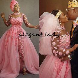 Wholesale hot pants dresses resale online - Hot Pink Nigerian African Wedding Jumpsuit With Detachable Train Plus Size Sheer Jewel Neck D Floral Lace Tulle Bride Dress Pant Suit