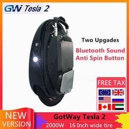 bluetooth motors UK - The Newest GotWay Tesla 2 Self Balance Electric Scooter 2000W Motor 84V 1020WH 16 Inch Tire With Bluetooth Sound Skateboard
