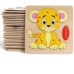 Kids Craft Kits Wholesale UK - Baby 3D Wooden Puzzles Educational Toys For Child Building Blocks Wood Kids Toys Jigsaw Craft Animals Christmas Gift Party Favor Free Ship