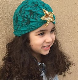 Children Hood Hat Australia - Fashion paillette pentagram children hood Hat headbands Lace hair head bands accessories headwear turban Caps headwrap headdress