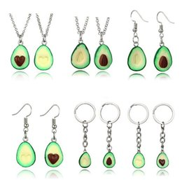 $enCountryForm.capitalKeyWord Australia - New Fashion lovely Couple Avocado Pendant Necklaces Earrings Lovers Avocado Fruit Key Ring Hand-made Solid Clay Necklace For Female