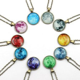 day night glasses for men Australia - Starry Sky Time Gem Pendant Necklaces Glass Glowing Pendant Necklace Night Luminous Statement Jewelry for Women Men 10Colors Wholesale DHL