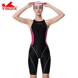 fe15919a7e25d Yingfa one piece competition knee length waterproof chlorine low resistance  women s swimwear sharkskin swimsuit