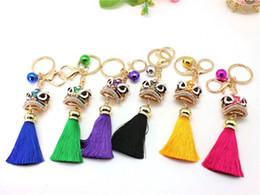 $enCountryForm.capitalKeyWord Australia - Tassel lion head key buckle car hanging bag pendant enamel lion Key Chain tassels Ring jewelry for women
