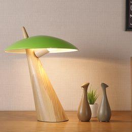 $enCountryForm.capitalKeyWord Australia - Wood Table Lamps for Living Room Abajur de mesa Eye Care Green White Black Metal Lampshade Desk Lamp for Study H40cm