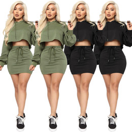 Wholesale hoodie club dress resale online – Womens Crop Top Hoodie and Mini Skirt Two Piece Set Tracksuit Women Jogging Femme Sexy Casual Club Outfits Matching Set
