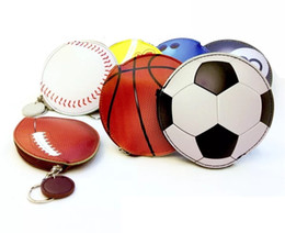 soccer rings Australia - Sports Purse Keychain Promotional Personalized Sports Coin Purse Keychain Basketball Softball Baseball Soccer Key ring PU Leather Bag